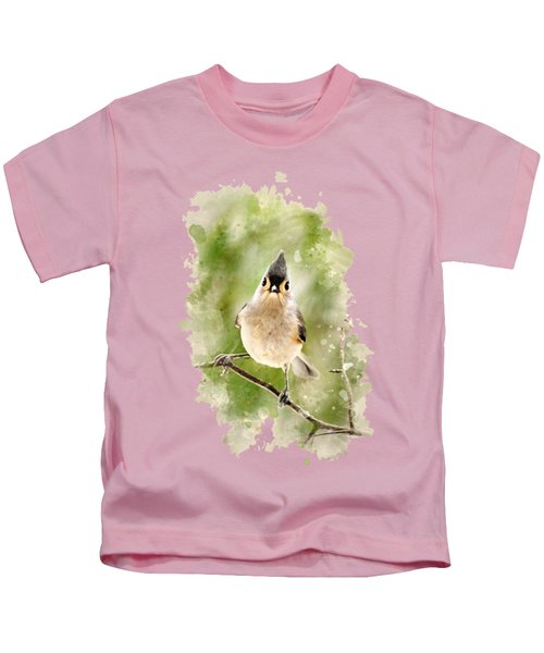 Tufted Titmouse - Watercolor Art Kids T-Shirt by Christina Rollo