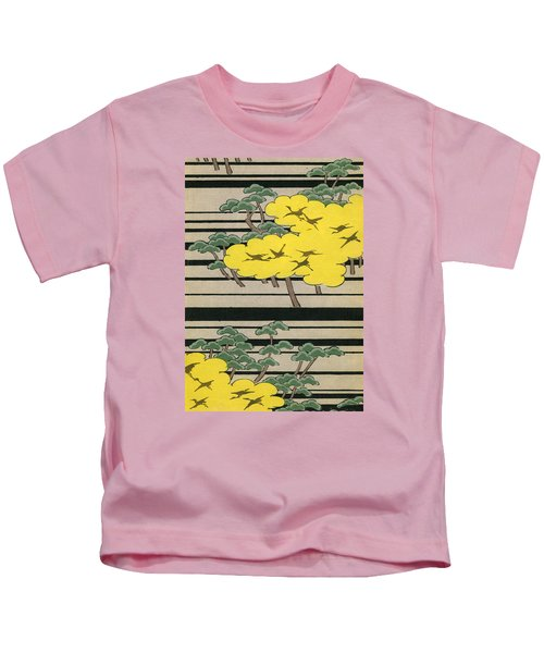 Vintage Japanese Illustration Of An Abstract Forest Landscape With Flying Cranes Kids T-Shirt by Japanese School