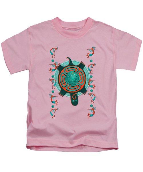 Visitors Anasazi 3d Folk Art Kids T-Shirt by Sharon and Renee Lozen