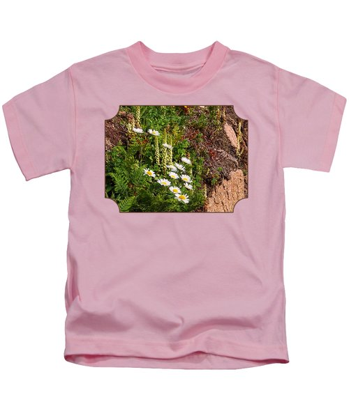 Wild Daisies In The Rocks Kids T-Shirt by Gill Billington