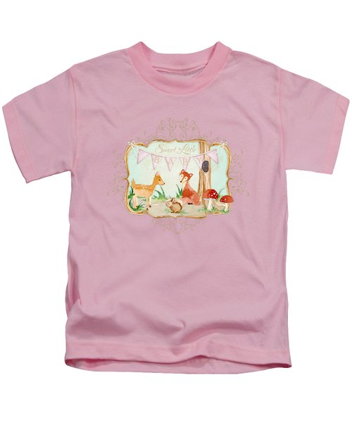 Woodland Fairytale - Banner Sweet Little Baby Kids T-Shirt by Audrey Jeanne Roberts
