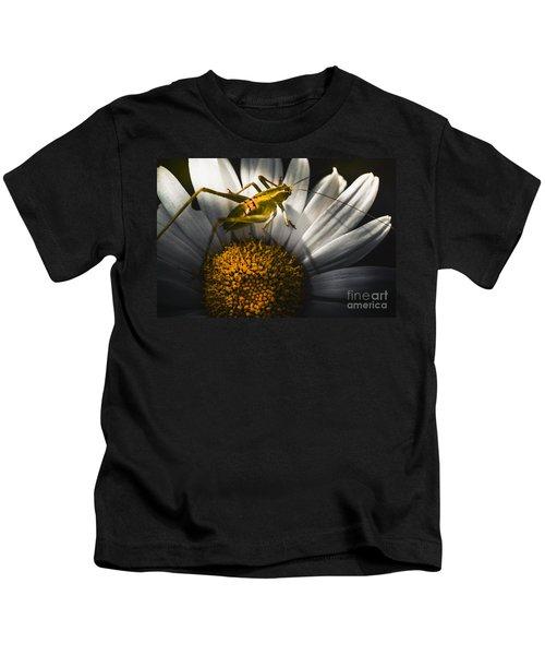Australian Grasshopper On Flowers. Spring Concept Kids T-Shirt by Jorgo Photography - Wall Art Gallery