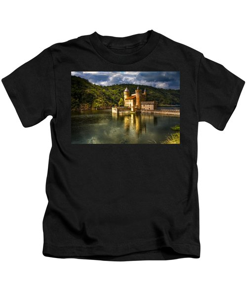 Chateau De La Roche Kids T-Shirt by Debra and Dave Vanderlaan