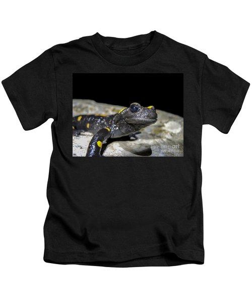 Fire Salamander Salamandra Salamandra Kids T-Shirt by Shay Levy
