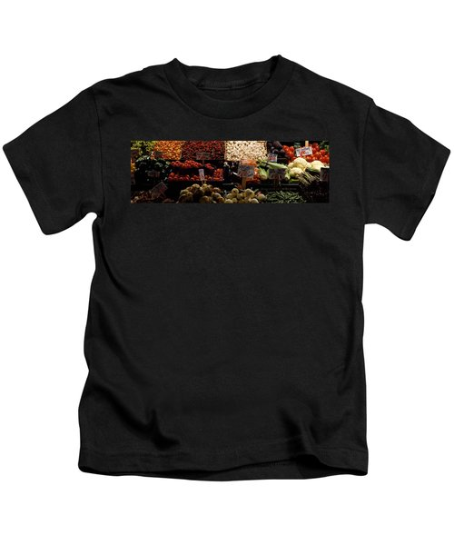 Fruits And Vegetables At A Market Kids T-Shirt by Panoramic Images