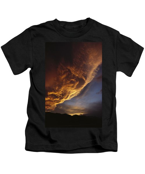 Sunset On Storm Clouds Near Mt Cook Kids T-Shirt by Ian Whitehouse