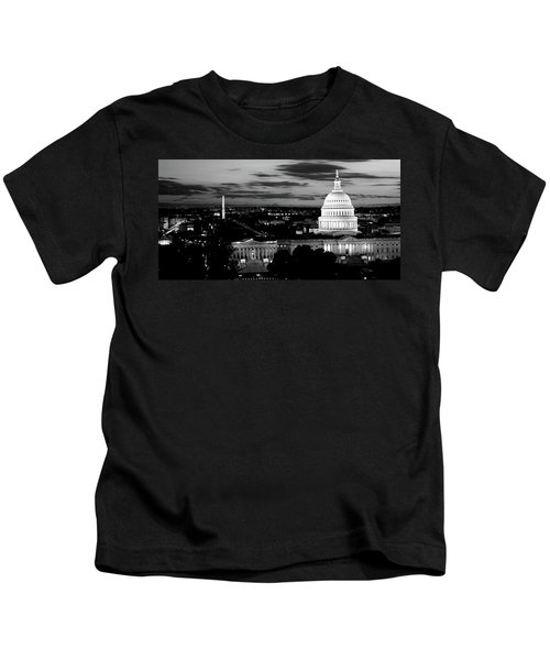 High Angle View Of A City Lit Kids T-Shirt by Panoramic Images