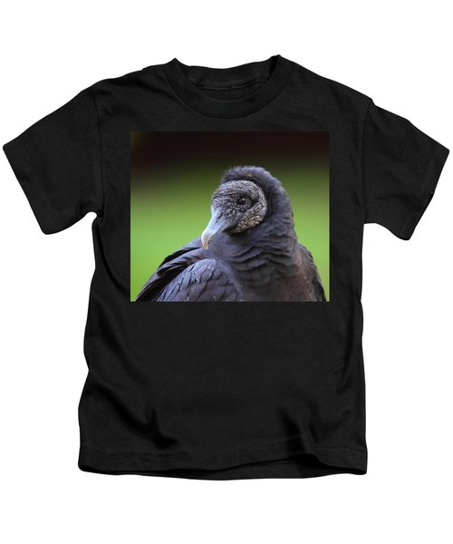 Black Vulture Portrait Kids T-Shirt by Bruce J Robinson
