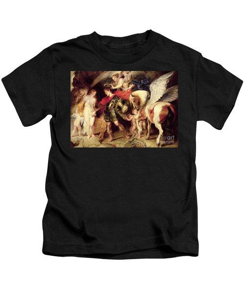 Perseus Liberating Andromeda Kids T-Shirt by Peter Paul Rubens