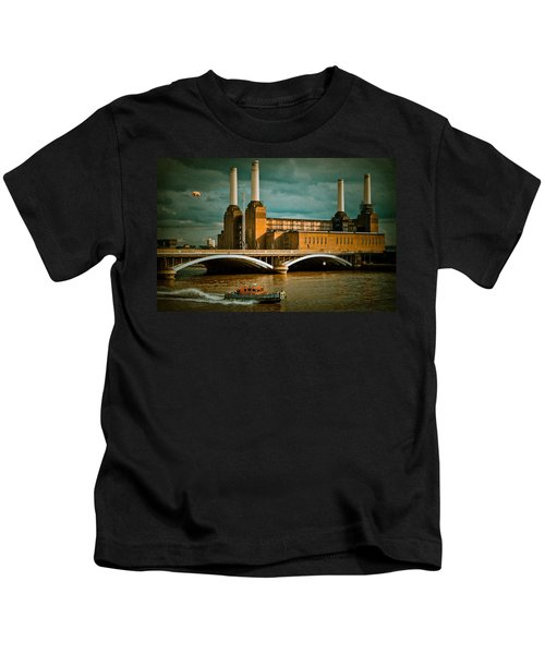 Pink Floyd Pig At Battersea Kids T-Shirt by Dawn OConnor