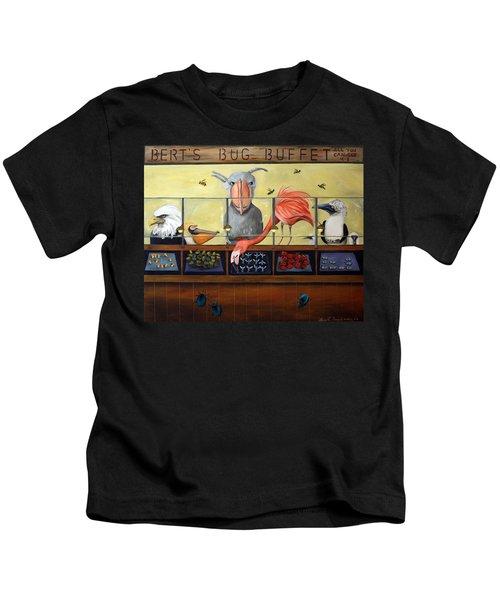 Bert's Bug Buffet Kids T-Shirt by Leah Saulnier The Painting Maniac