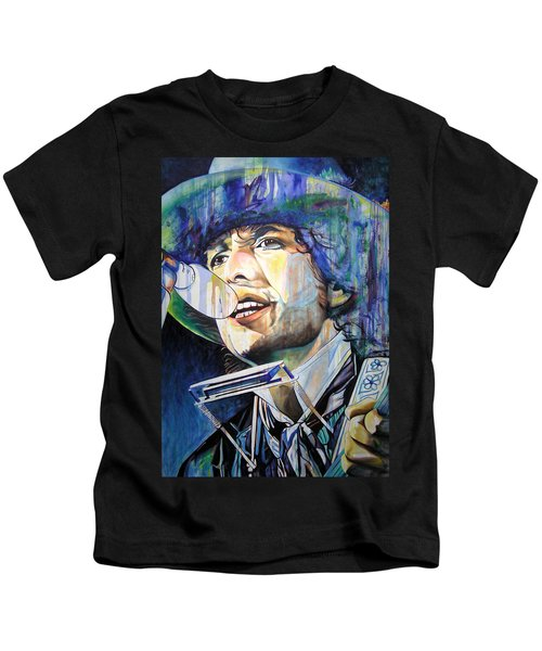 Bob Dylan Tangled Up In Blue Kids T-Shirt by Joshua Morton