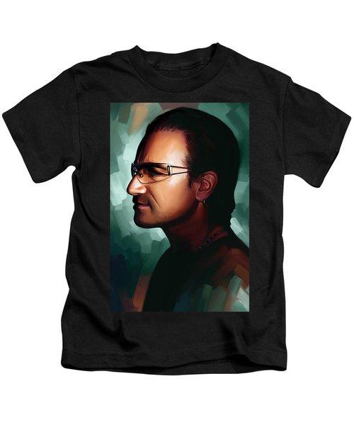 Bono U2 Artwork 1 Kids T-Shirt by Sheraz A