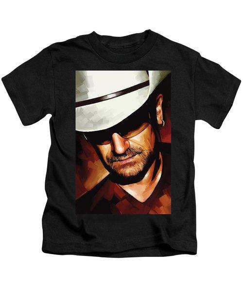 Bono U2 Artwork 3 Kids T-Shirt by Sheraz A