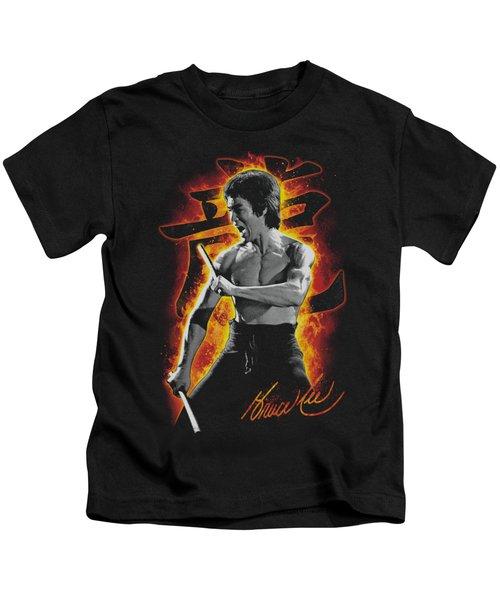 Bruce Lee - Dragon Fire Kids T-Shirt by Brand A