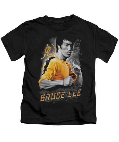Bruce Lee - Yellow Dragon Kids T-Shirt by Brand A