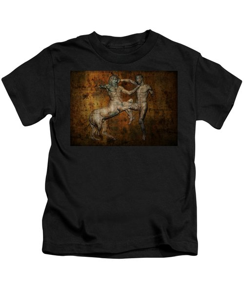 Centaur Vs Lapith Warrior Kids T-Shirt by Daniel Hagerman