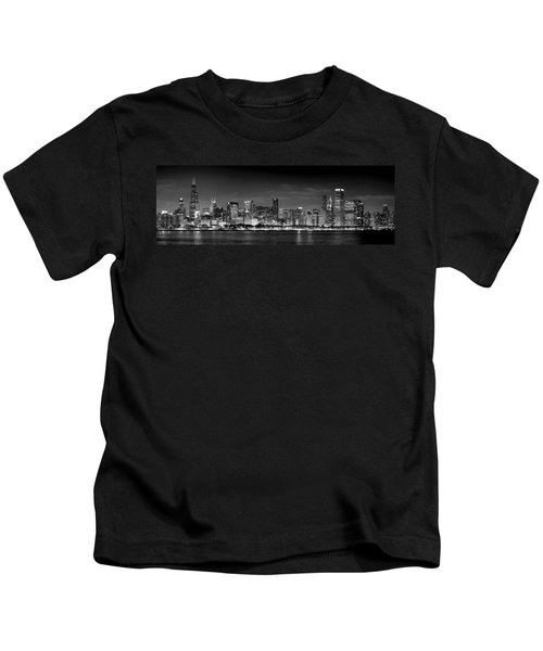 Chicago Skyline At Night Black And White Kids T-Shirt by Jon Holiday