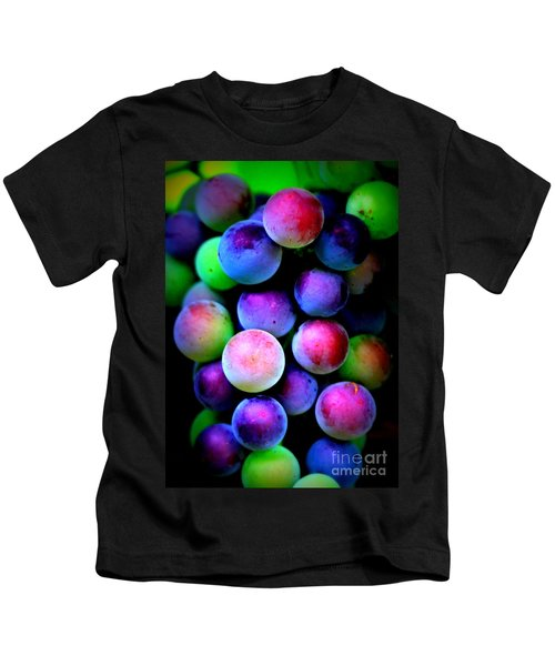 Colorful Grapes - Digital Art Kids T-Shirt by Carol Groenen