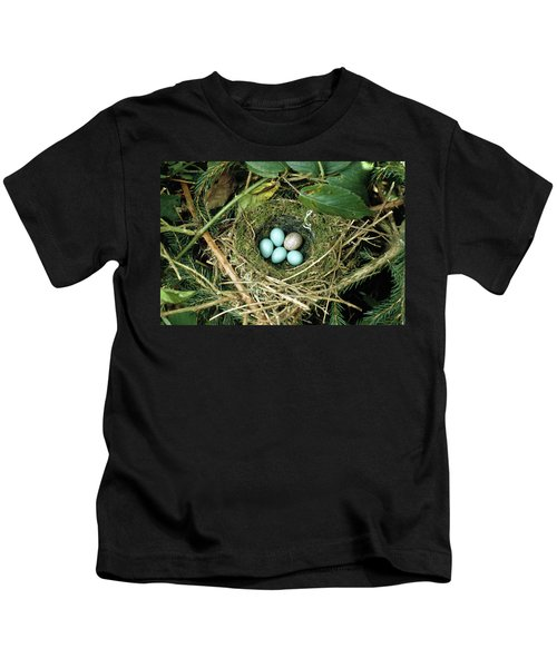 Common Cuckoo Cuculus Canorus Egg Laid Kids T-Shirt by Jean Hall
