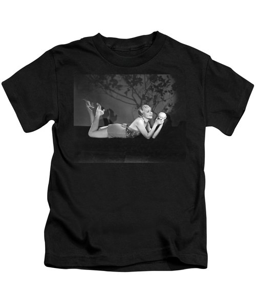 Contemplating A Grapefruit Kids T-Shirt by Elmer Fryer