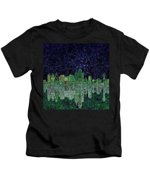 Dallas Skyline Abstract 4 Kids T-Shirt by Bekim Art