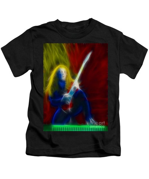 Def Leppard-adrenalize-ga5-vivian-fractal Kids T-Shirt by Gary Gingrich Galleries
