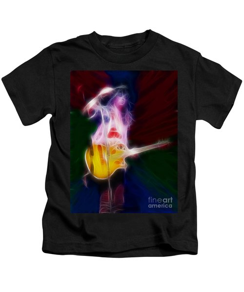 Deff Leppard-adrenalize-joe-gf25-fractal Kids T-Shirt by Gary Gingrich Galleries