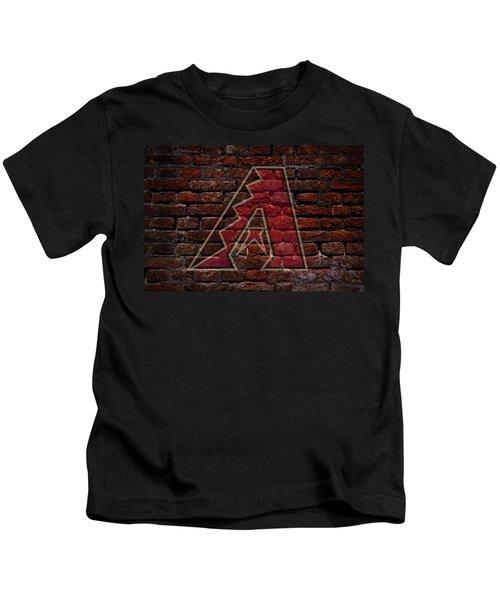 Diamondbacks Baseball Graffiti On Brick  Kids T-Shirt by Movie Poster Prints