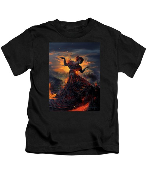 Elements - Fire Kids T-Shirt by Cassiopeia Art