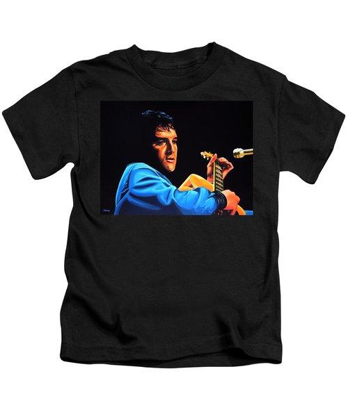 Elvis Presley 2 Painting Kids T-Shirt by Paul Meijering