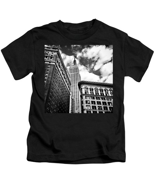 Empire State Building And New York City Skyline Kids T-Shirt by Vivienne Gucwa