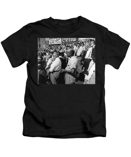 Fans At Yankee Stadium Stand For The National Anthem At The Star Kids T-Shirt by Underwood Archives