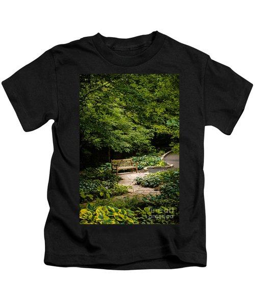 Garden Bench Kids T-Shirt by Joe Mamer