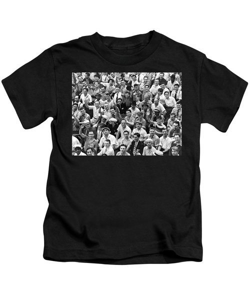 Happy Baseball Fans In The Bleachers At Yankee Stadium. Kids T-Shirt by Underwood Archives