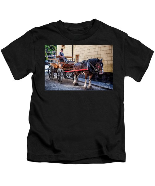 Horse And Cart Kids T-Shirt by Adrian Evans