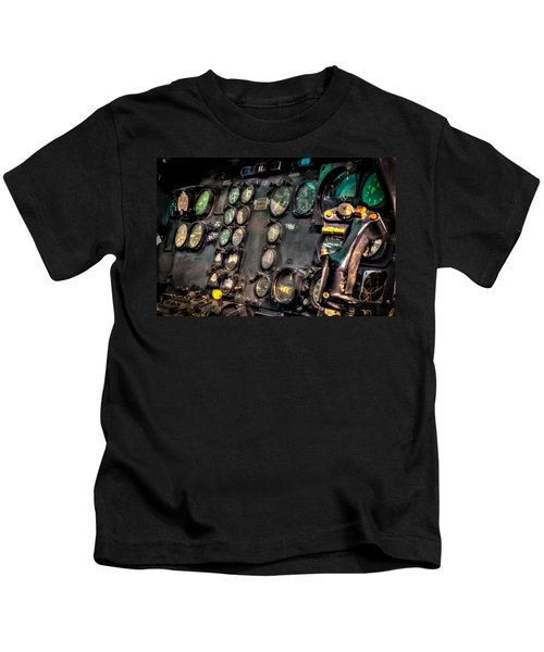 Huey Instrument Panel Kids T-Shirt by David Morefield