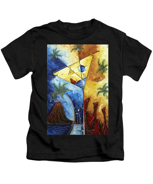 Island Martini  Original Madart Painting Kids T-Shirt by Megan Duncanson