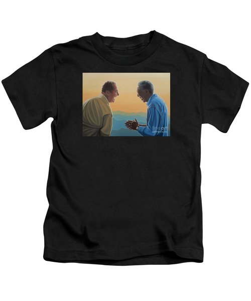 Jack Nicholson And Morgan Freeman Kids T-Shirt by Paul Meijering