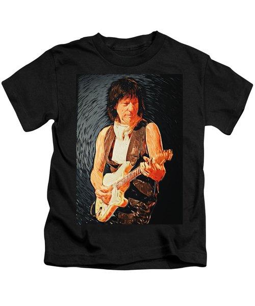 Jeff Beck Kids T-Shirt by Taylan Apukovska