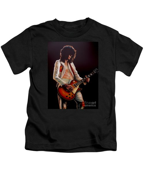 Jimmy Page In Led Zeppelin Painting Kids T-Shirt by Paul Meijering