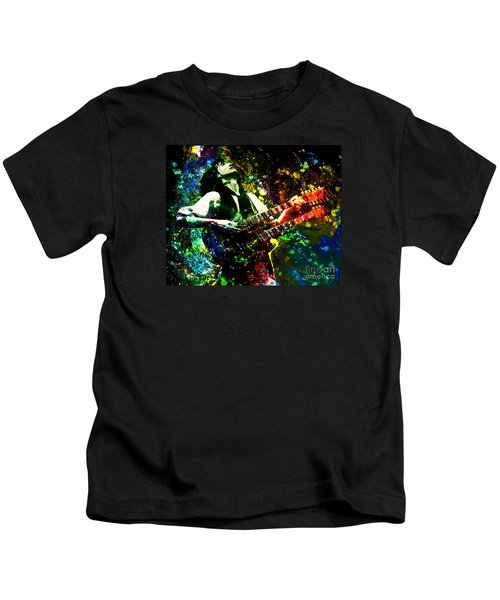 Jimmy Page - Led Zeppelin - Original Painting Print Kids T-Shirt by Ryan Rock Artist