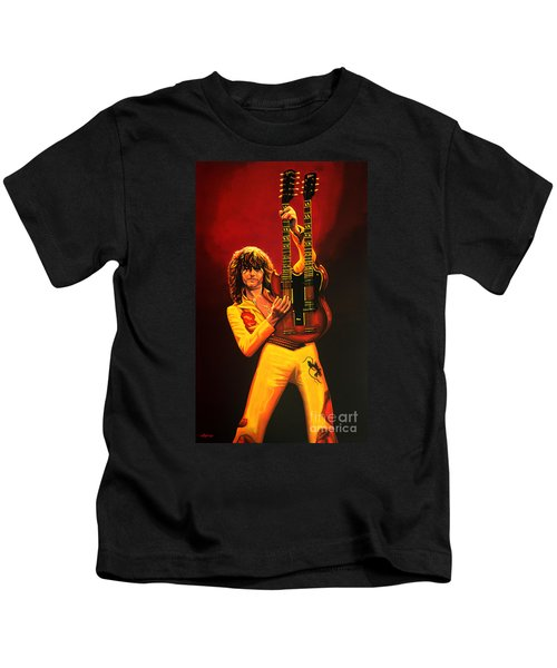 Jimmy Page Painting Kids T-Shirt by Paul Meijering