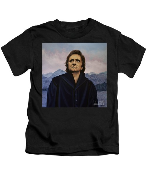 Johnny Cash Painting Kids T-Shirt by Paul Meijering
