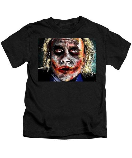 Joker Painting Kids T-Shirt by Daniel Janda