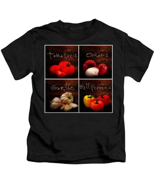 Kitchen Ingredients Collage II Kids T-Shirt by Lourry Legarde