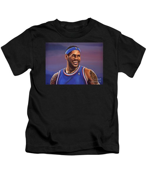 Lebron James  Kids T-Shirt by Paul Meijering