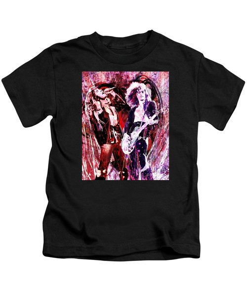 Led Zeppelin - Jimmy Page And Robert Plant Kids T-Shirt by Ryan Rock Artist