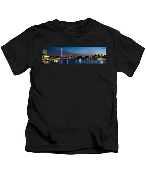 London Eye And Central London Skyline Kids T-Shirt by Panoramic Images