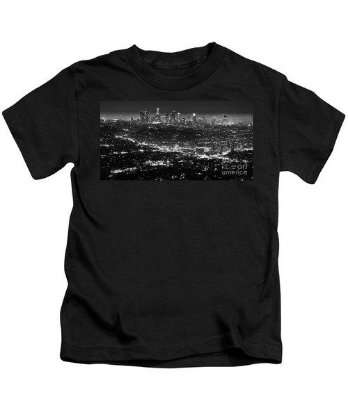Los Angeles Skyline At Night Monochrome Kids T-Shirt by Bob Christopher